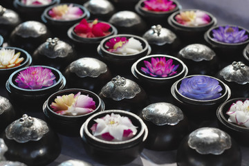 Thailand, Chiang Mai, soaps crafted with flowers shapes