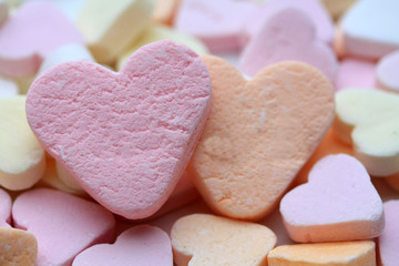 Valentine candy hearts in sweet colors, yes I love you text