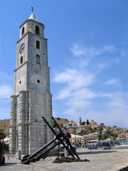 Clock tower and anchor