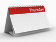 Leinwandbild Motiv Calendar for thursday on white background. Isolated 3D image