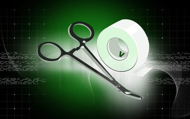Illustration of a surgical scissor and plastering tape