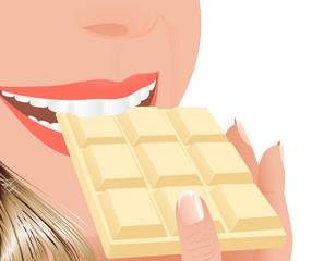 Woman eating white chocolate