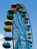 Wheel of review in the park on blue sky background poster