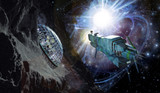 spaceship and asteroid-