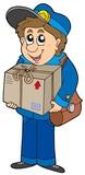 Mailman delivering box poster