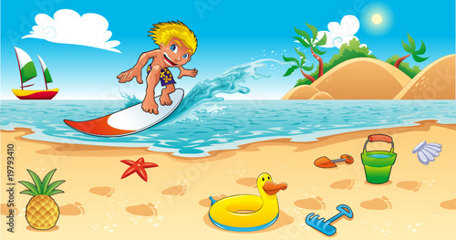 Zdjęcia na płótnie, fototapety na wymiar, obrazy na ścianę : Surfing in the sea. Funny cartoon and vector illustration.