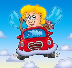 Cupid in red car on sky
