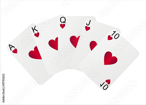 royal flush isolated on white