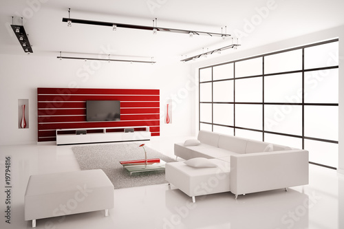 Weisses Wohnzimmer 3d