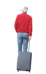 Adult man with suitcase isolated