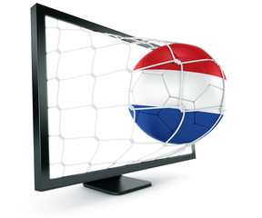 Soccer ball coming out of monitor