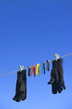 Gloves Hanging On Washing Line