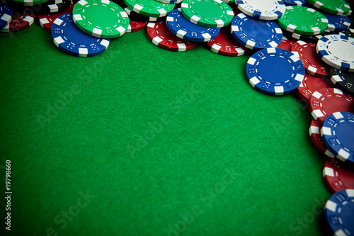 Gambling chips - bevel view with vignette