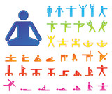 Pictograms which represent yoga exercise poster