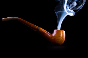 tobacco pipe with smoke