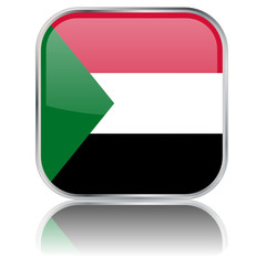 Sudan Flag Square Web Button (Sudanese Africa Vector Reflection)