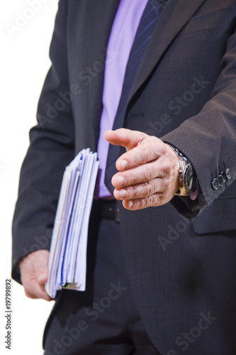 businessman waving