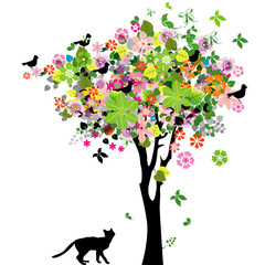 Flowers tree and cat