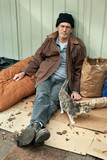 Homeless Man and Friendly Stray Cat poster