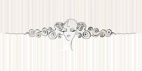 Girl`s face & hair
