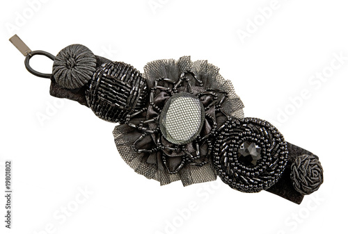 black flowers hairpin isolated