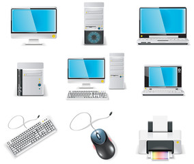 Vector white computer icon set. Part 1. PC