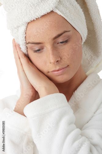 Beautiful woman in bathrobe
