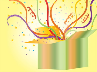 Celebration Gift Box with Streamers and Confetti