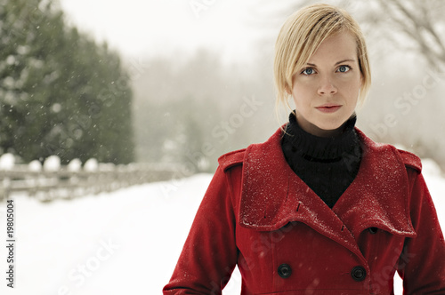 Attractive Young Woman on a Snowy Day