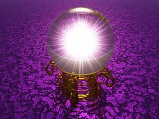Kristallkugel Orakel in 3D auf violett Struktur