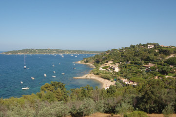 St Tropez bay from hilltop