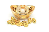 Chinese new year gold coins and ingots ornament poster