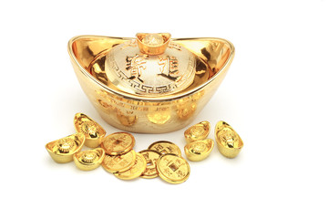 Chinese new year gold coins and ingots ornament