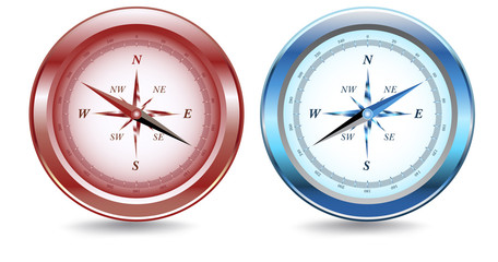 Red and Blue Metallic Compasses