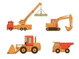 Excavator, truck, auto and wheel loader (tractor) isolated