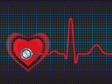 Heart symbol and stethoscope with normal ECG line poster