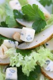 salad with pears, blue mold cheese and parsley poster