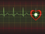 Heart symbol with normal ECG line, cardiac monitor poster