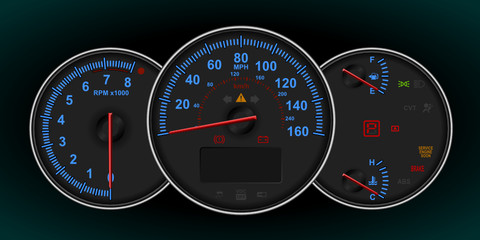 Speedometer and RPM gauge cluster (dashboard)