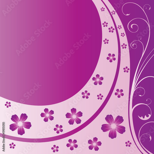 Floral square purple card with text space