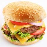 Fototapety Cheeseburger on a white background