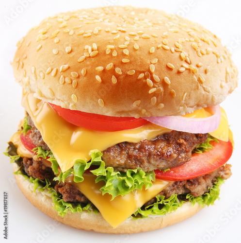 Fotobehang Restaurant Cheeseburger on a white background
