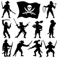 Pirates crew silhouettes Set2