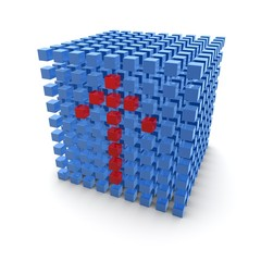 Red arrow blue cube