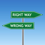 right and wrong way sign (vector) poster