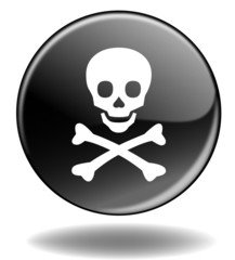 "Bouton web rond ""DANGER"" (mortel risque avertissement mort)"