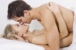 Loving couple in affectionate sensual kiss