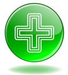 """Bouton web rond """"PHARMACIE"""" (signe symbol croix santé)"""