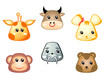 Cute baby giraffe, bull, mouse, monkey, walrus and bear