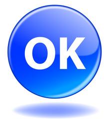 """Bouton web rond """"OK"""" (bleu go recherche rechercher)"""